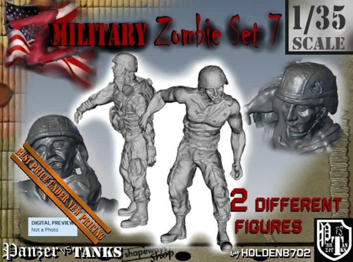 1-35 Military Zombie Set 7 3d printed