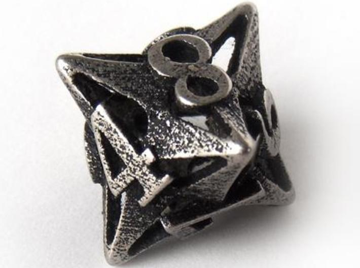 Pinwheel d8 3d printed In stainless steel and inked
