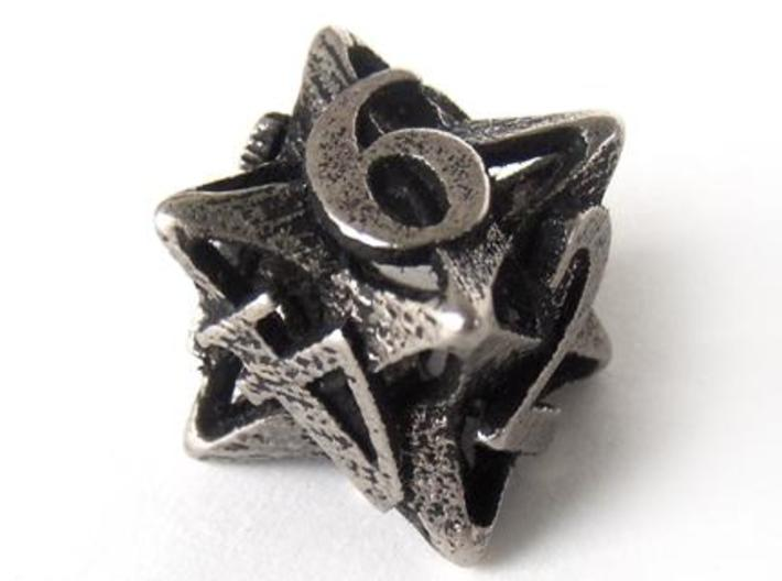Pinwheel d6 3d printed In stainless steel and inked