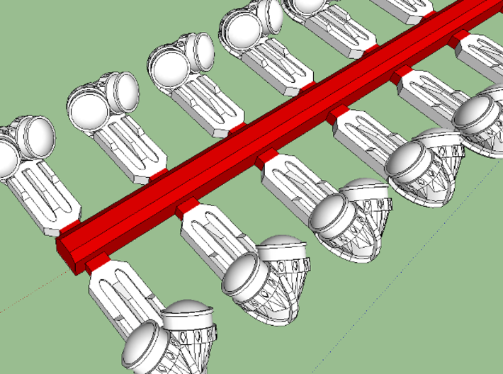 HO Pullman Parlor Car Lamps Kit 3d printed Red-shaded areas represent sprues that must be removed.