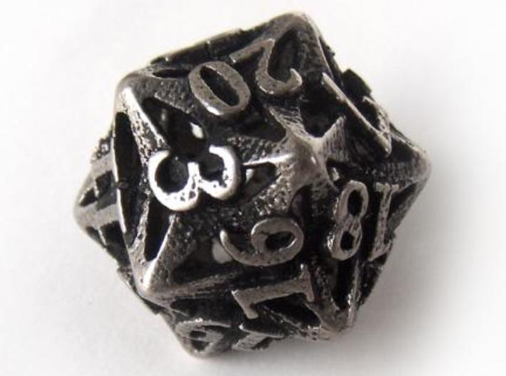 Pinwheel d20 3d printed In stainless steel and inked