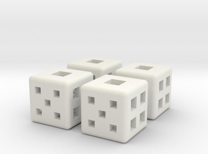 d6 Square Dice 12mm x4 3d printed