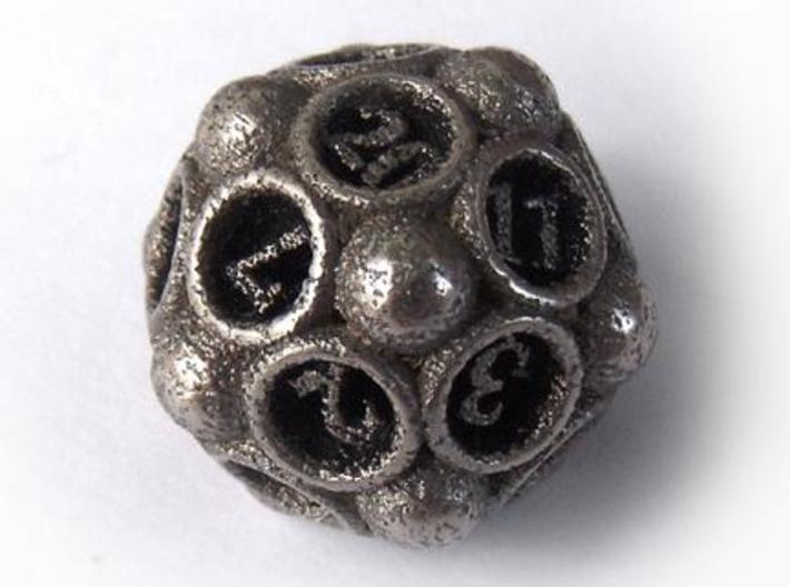 Spore d20 3d printed In stainless steel and inked