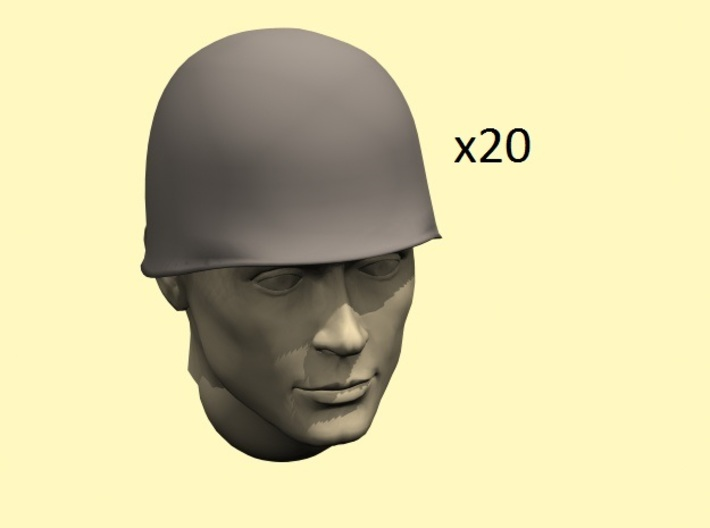 28mm WW2 U.S. steel helmet 3d printed head not included