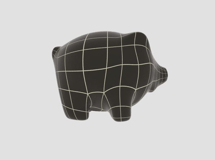 Piggy Bank 3d printed 3D wireframe model