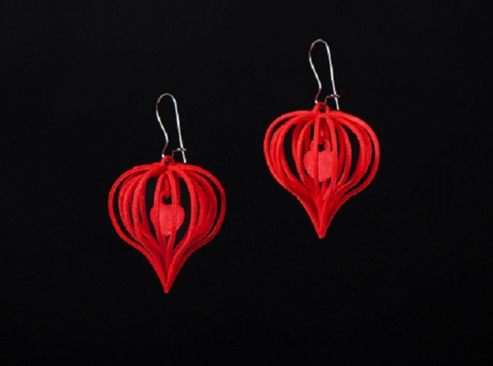 Earrings Heart In Heart - 2 Pcs 3d printed