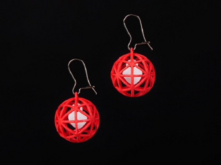 Earrings Heart In A Sphere - 2 Pcs 3d printed