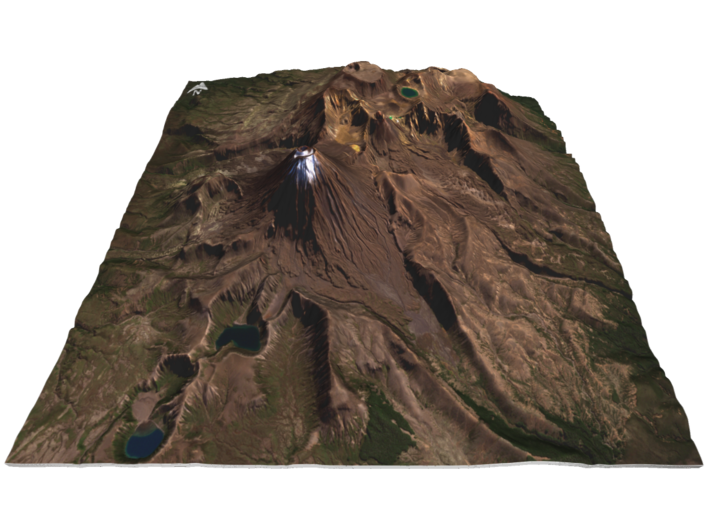 "Mount Ngauruhoe (Mt Doom) Map - 9"" 3d printed"