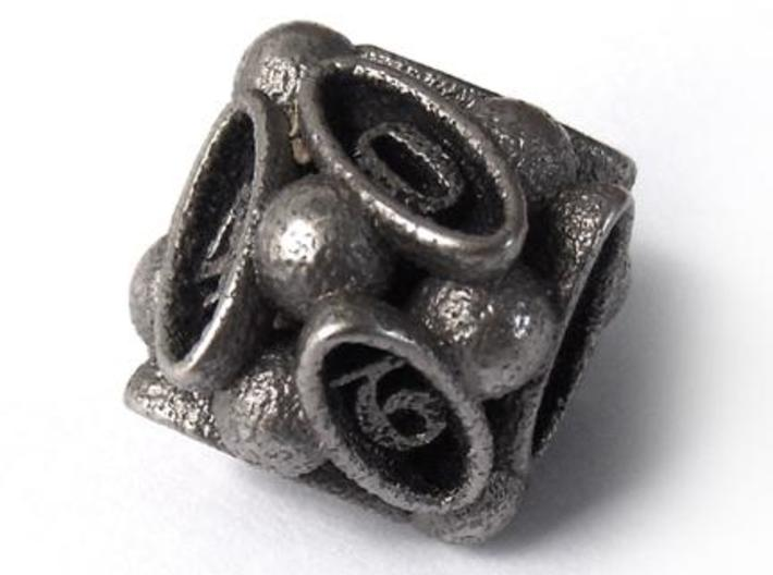 Spore d10 3d printed In stainless steel and inked