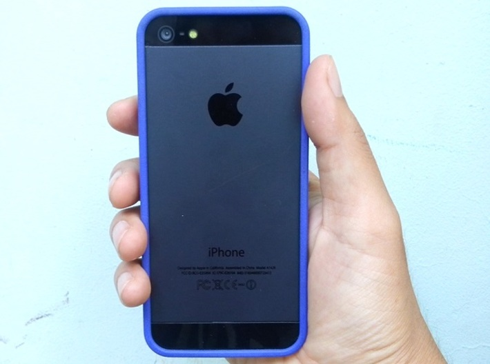 iphone 5 basic bumper 3d printed Royal Blue Strong & Flexible Polished