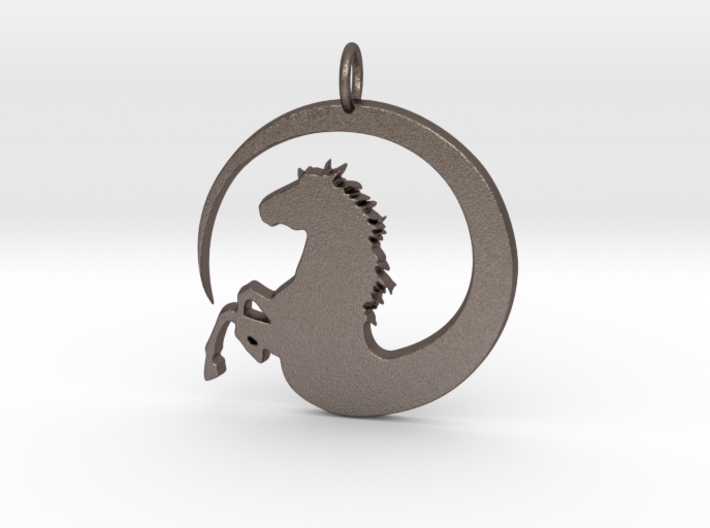 Pretty Horse In Circle Pendant Charm 3d printed