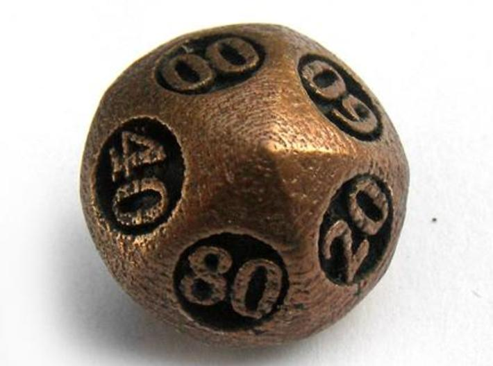 Overstuffed Decader d10 3d printed In antique bronze glossy and inked