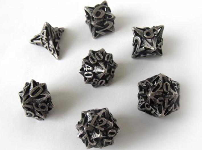 Pinwheel Dice Set with Decader 3d printed In stainless steel and inked