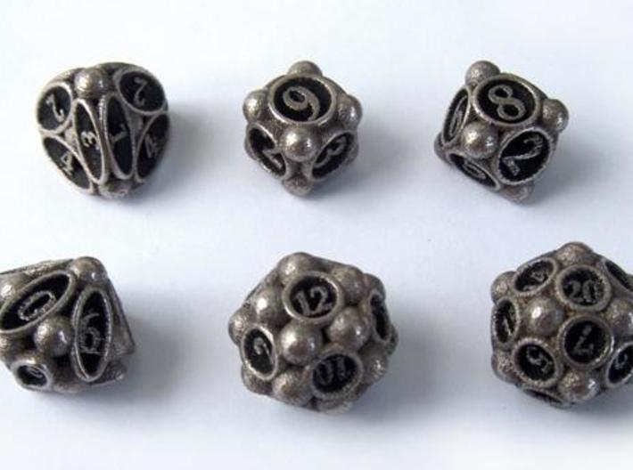 Spore Dice Set 3d printed In stainless steel and inked