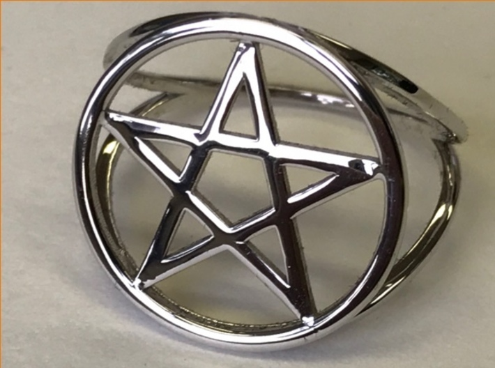 Pentacle ring (customize) 3d printed Pentacle ring, rhodium-plated over polished brass.
