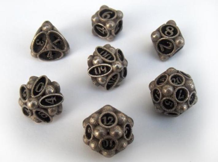 Spore Dice Set with Decader 3d printed In stainless steel and inked