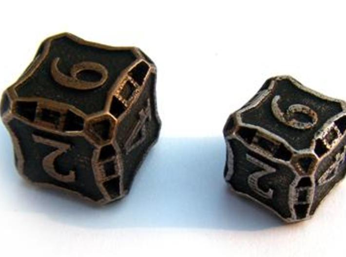 Large Premier d6 3d printed Compared to a standard-sized Die6