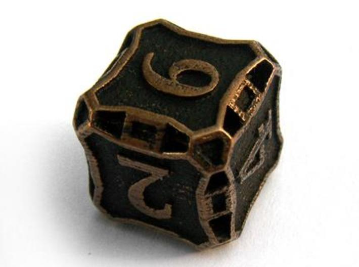 Large Premier d6 3d printed In antique bronze glossy and inked