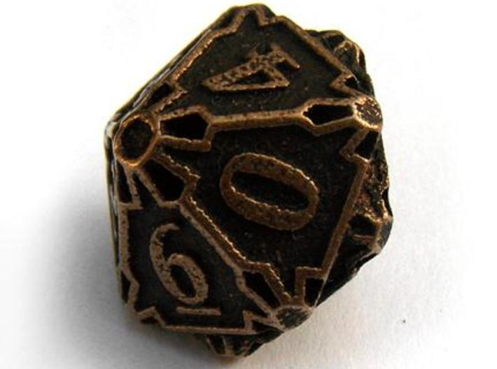 Large Premier d10 3d printed In antique bronze glossy and inked