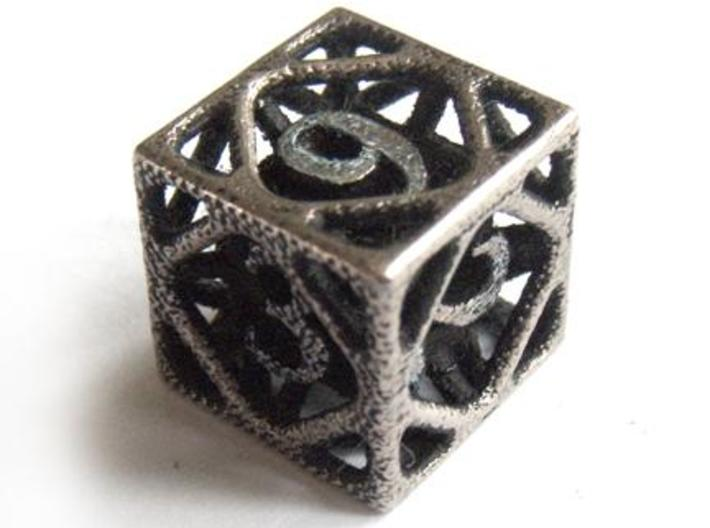 Cage d6 3d printed In stainless steel and inked