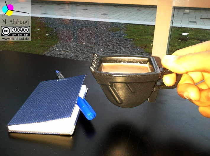 Excavator Bucket - Espresso Cup (Porcelain) 3d printed (old ceramic) The real one in satin black