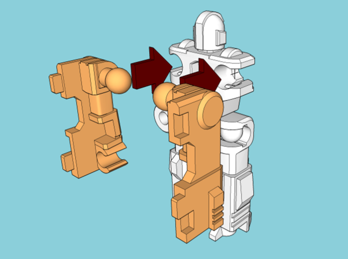 """MicroSlinger """"Flarestorm"""" 3d printed Assembly step 2: Attach arms."""