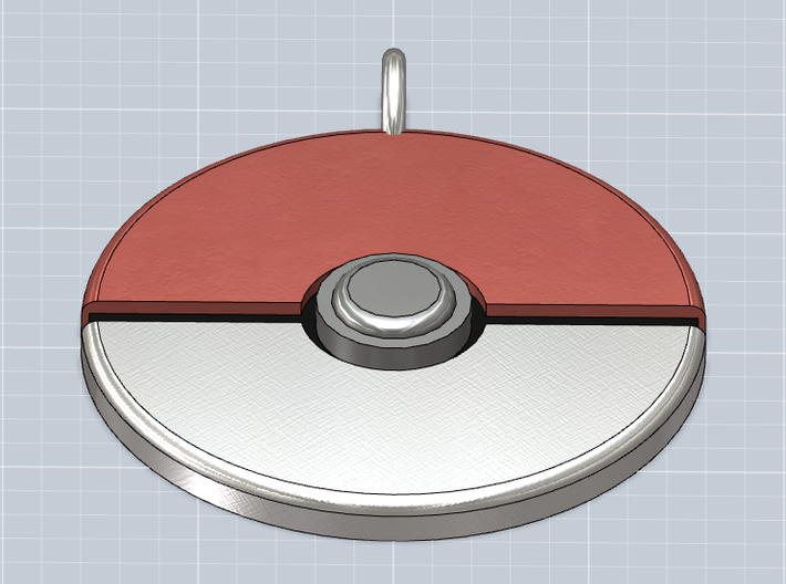 Pokeball Pendant 3d printed Front panned view