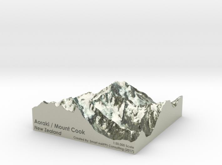 """Aoraki / Mount Cook Map, New Zealand: 6"""" 3d printed"""