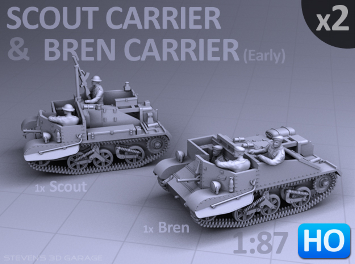 Scout and Bren Carrier (1:87 HO) - (2 Pack) 3d printed