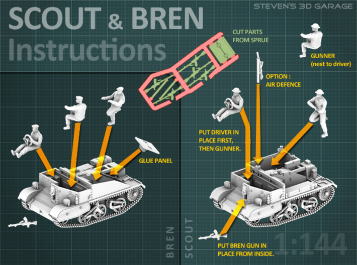 Scout and Bren Carrier  (1:87 HO) - (2 Pack) 3d printed - Instructions -
