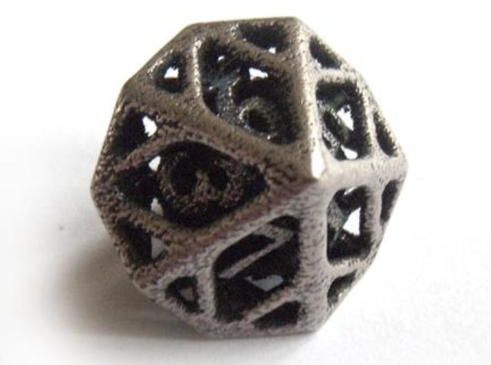 Cage Die10 3d printed In stainless steel and inked