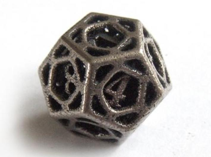 Cage Die12 3d printed In stainless steel and inked