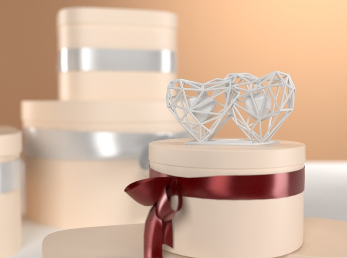 3D Hearts Wedding gift 3d printed
