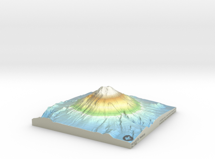 Mount St. Helens Pre-1980 Map: Blue Relief 3d printed