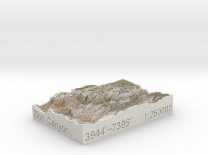 Zion Canyon, Utah, USA, 1:250000 Explorer 3d printed