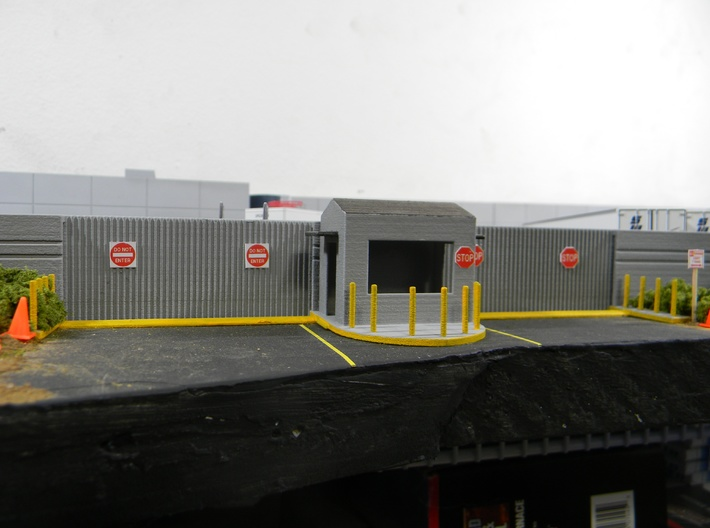 Closed Double Sliding Steel Gate w/Guard Shack 3d printed Painted with the addition of Blair Line Signs