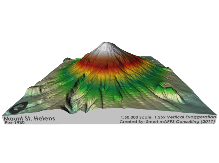 Mount St. Helens Pre-1980 Map: Red/Green Relief 3d printed