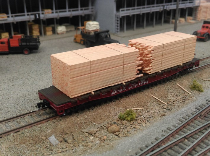 N Lumber Load For 5 Flat Cars: WOT, MTL, Athearn 3d printed