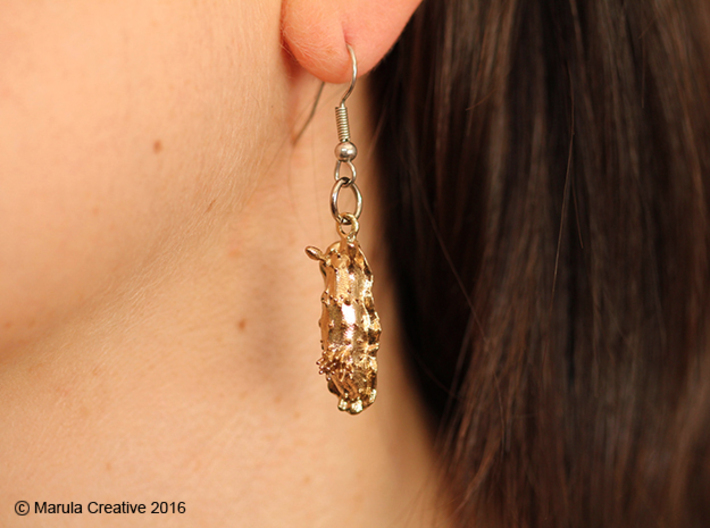 Doris the Nudibranch Earring 3d printed Raw Brass earring - showing hook with ring (not sold with product)
