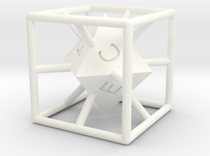 4-Letter Words D6 Cage Dice 3d printed