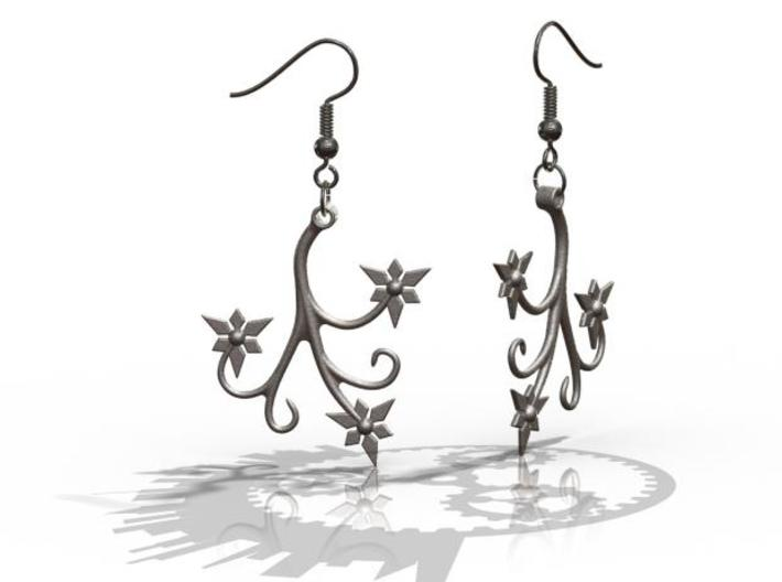 Flora Earrings - FishHooks 3d printed Example Render