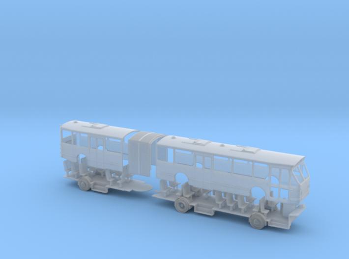 DAF MBG205 Gelede bus schaal 1:160 (N) 3d printed Render van het model in Frosted Ultra Detail (FUD)