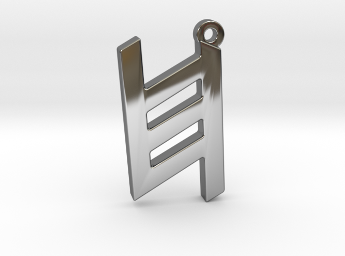 Letter KHET - Paleo Hebrew - With Chain Loop 3d printed