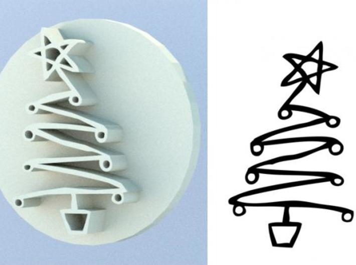 Soap Stamp - Xmas Tree 3d printed Design and render