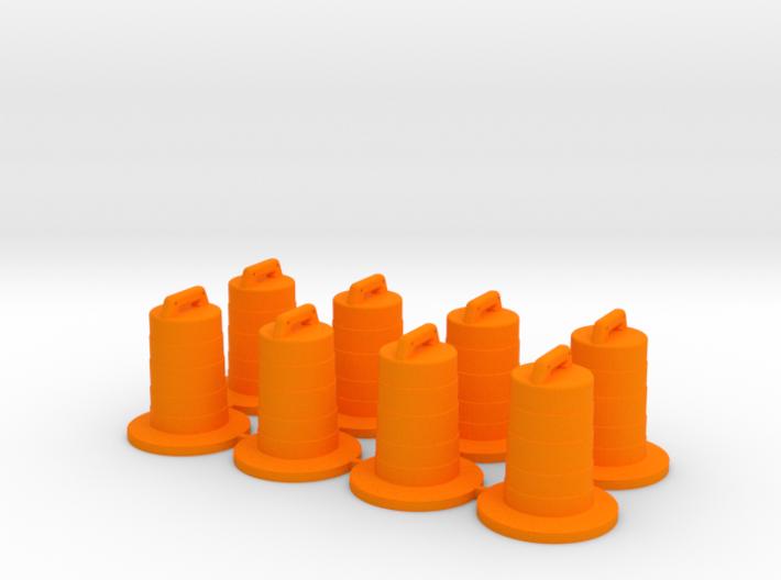 8 Traffic Barrels, Standard 3d printed