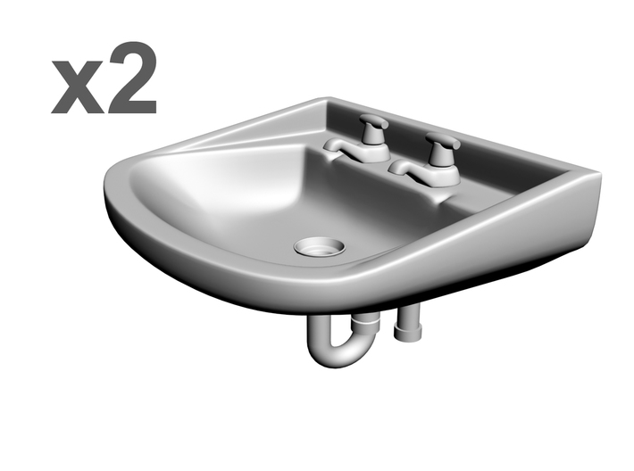 1/25 Sinks x2, with faucets+drainpipe 3d printed
