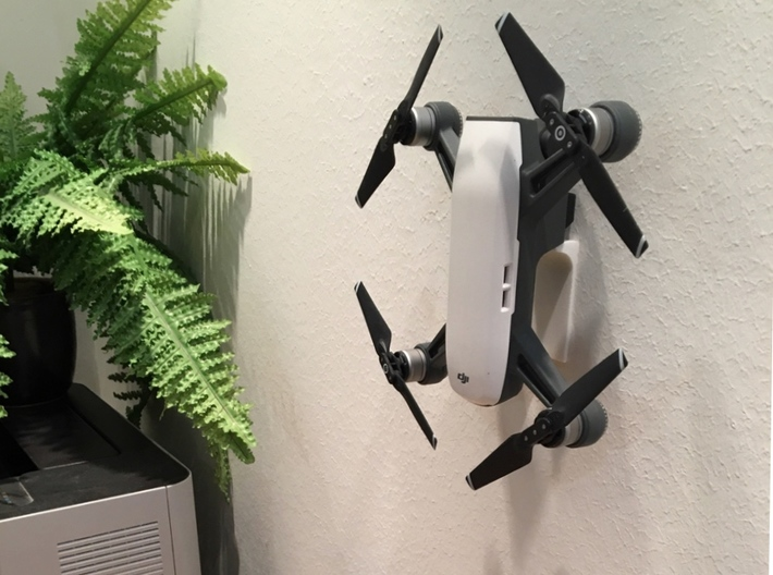 DJI Spark Wall Mount 3d printed DJI Spark on the wall