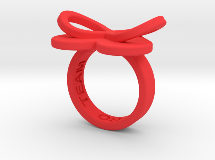 AMOUR in red polished plastic 3d printed
