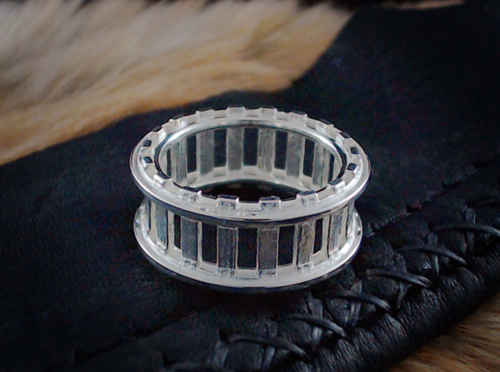 Railroad Ring - Size 9 1/2 (19.35 mm) 3d printed Shown in Polished Silver