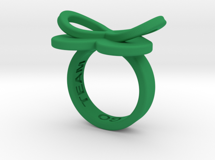 AMOUR in green polished plastic 3d printed